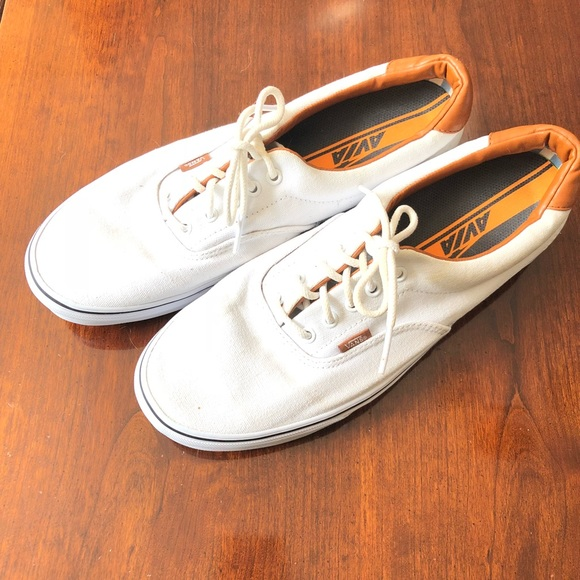 Vans White Sneakers with Brown Leather Trim AVIA